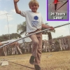 Nik in 1986 learning to walk the wire at his home in Sarasota, FL. (with an insert of the Niagara Falls walk in 2012)