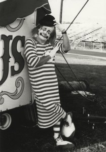 Circus performer Paul K Pugh pictured as Guppo the Clown and  on the flying trapeze act from the Wenatchee Y Circus